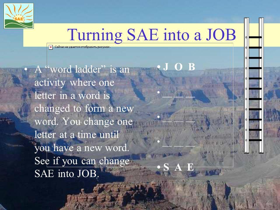 Turning SAE into a JOB • J O B