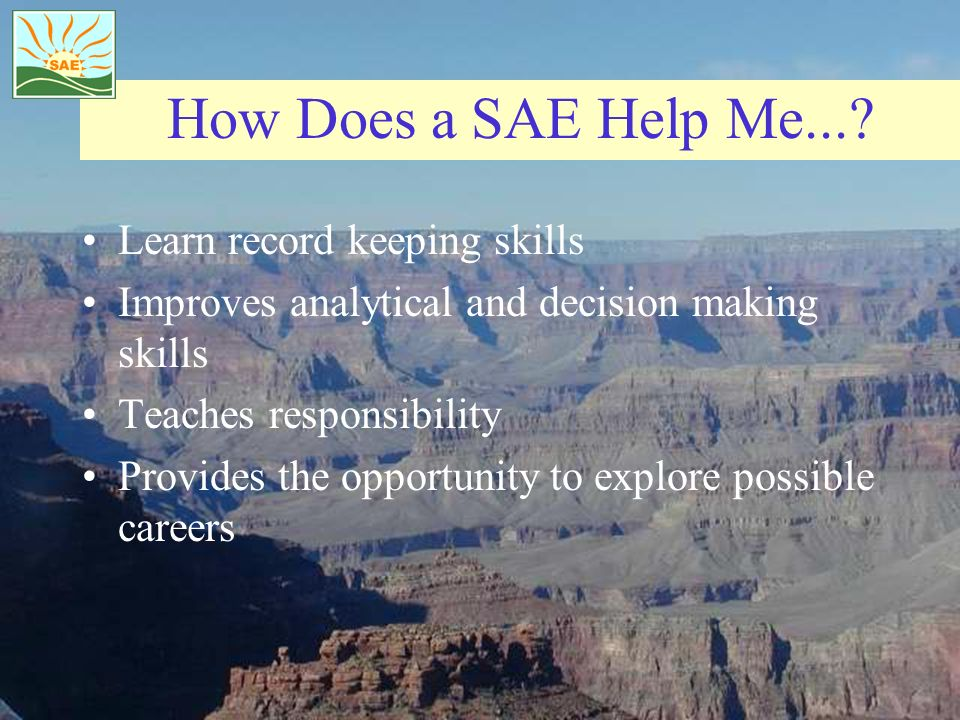 How Does a SAE Help Me... Learn record keeping skills