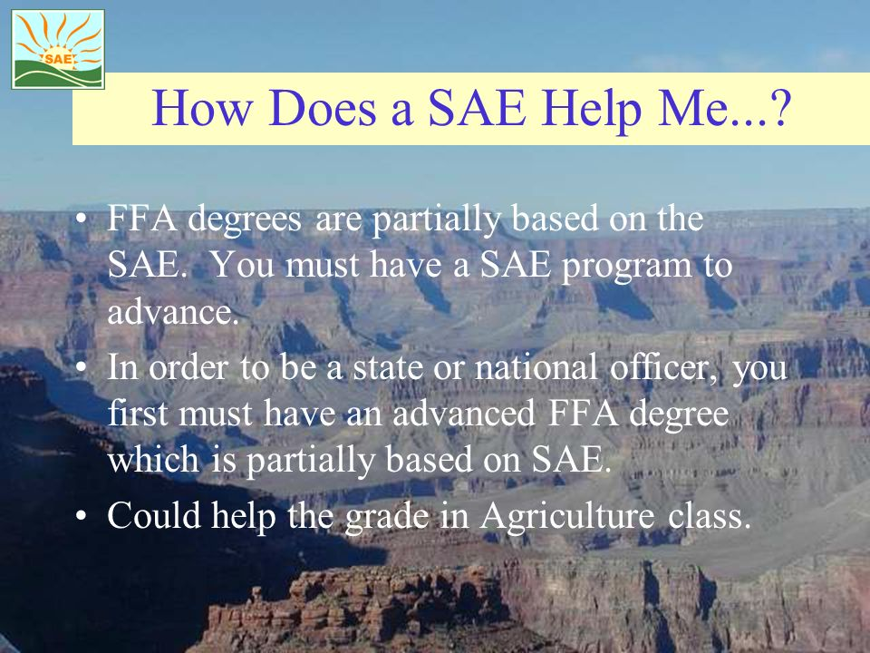 How Does a SAE Help Me... FFA degrees are partially based on the SAE. You must have a SAE program to advance.