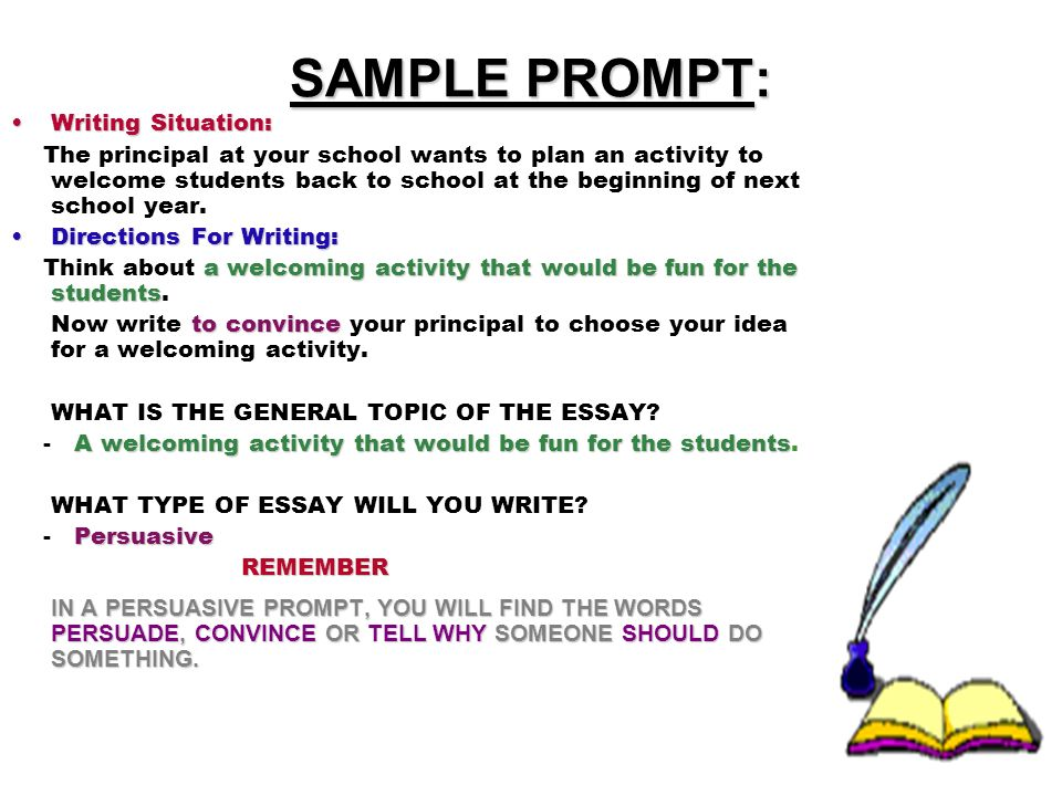 SAMPLE PROMPT: Writing Situation: