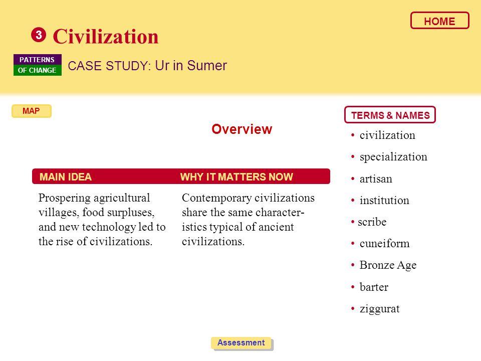 Civilization Overview CASE STUDY: Ur in Sumer 3 • civilization