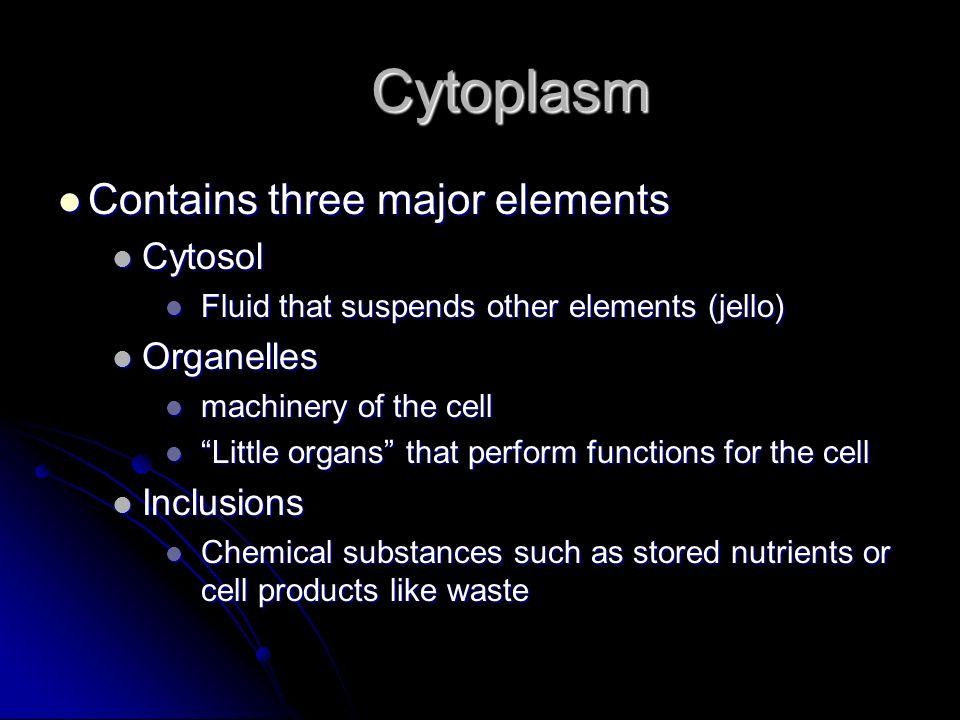 Cytoplasm Contains three major elements Cytosol Organelles Inclusions