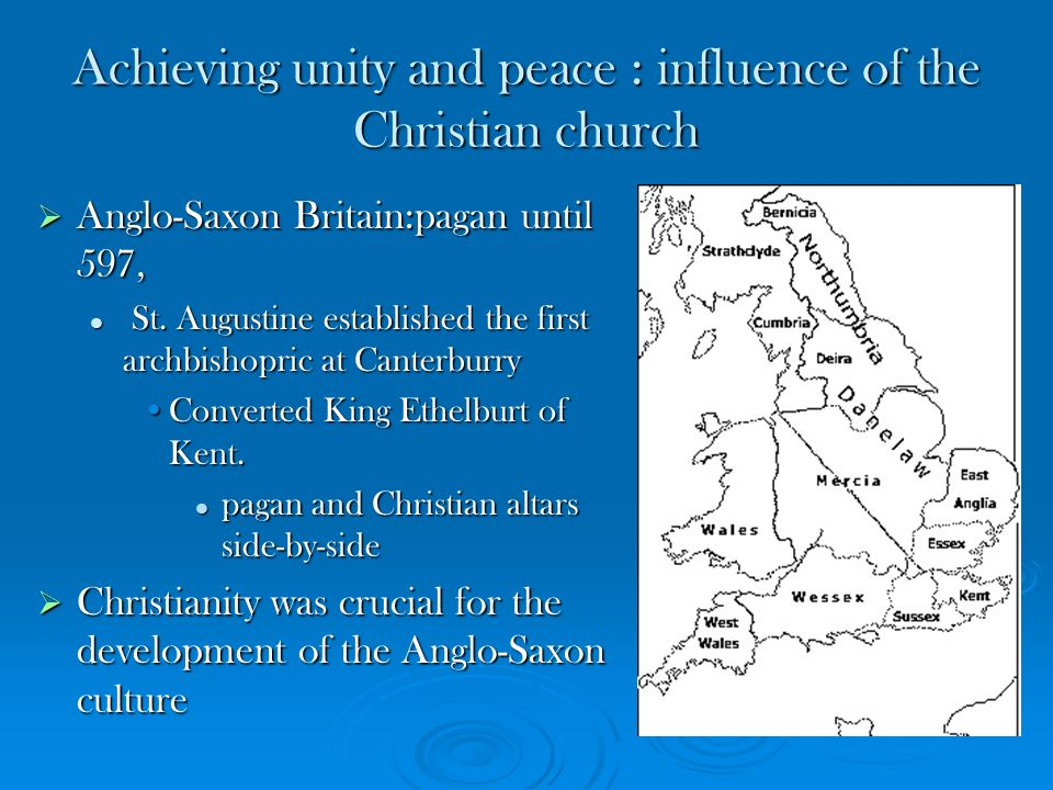 Achieving unity and peace : influence of the Christian church