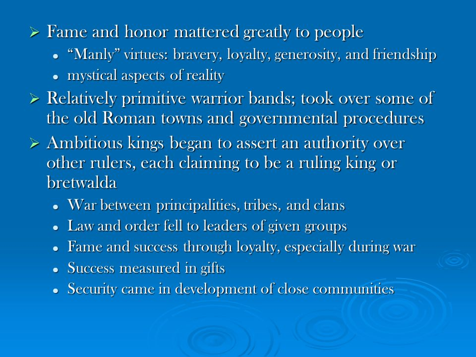 Fame and honor mattered greatly to people