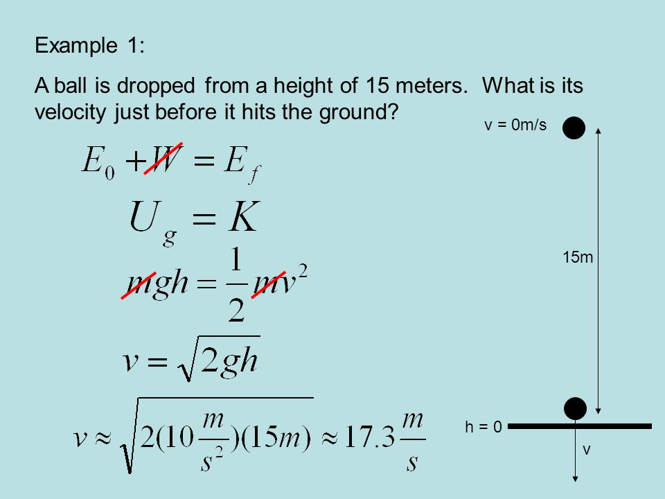Example 1: A ball is dropped from a height of 15 meters. What is its velocity just before it hits the ground
