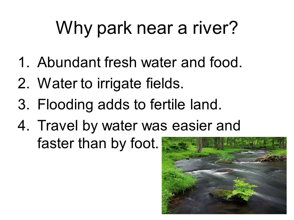 Why park near a river Abundant fresh water and food.