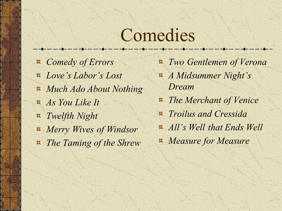Comedies Comedy of Errors Love's Labor's Lost Much Ado About Nothing