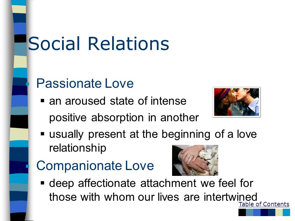 Social Relations Passionate Love Companionate Love