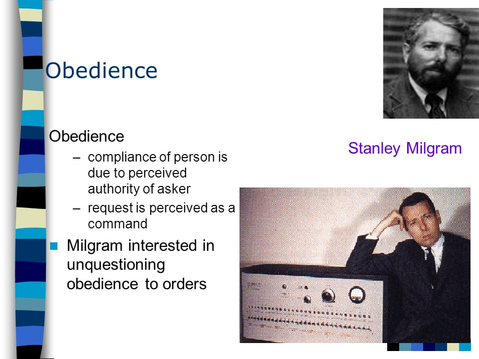 Obedience Obedience Stanley Milgram