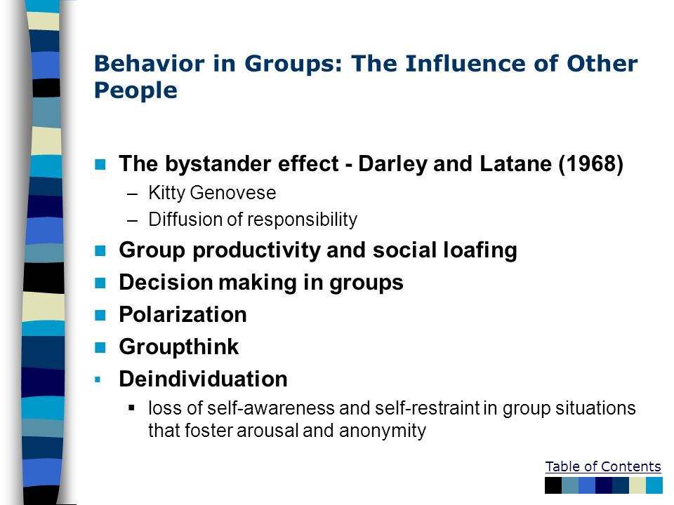Behavior in Groups: The Influence of Other People