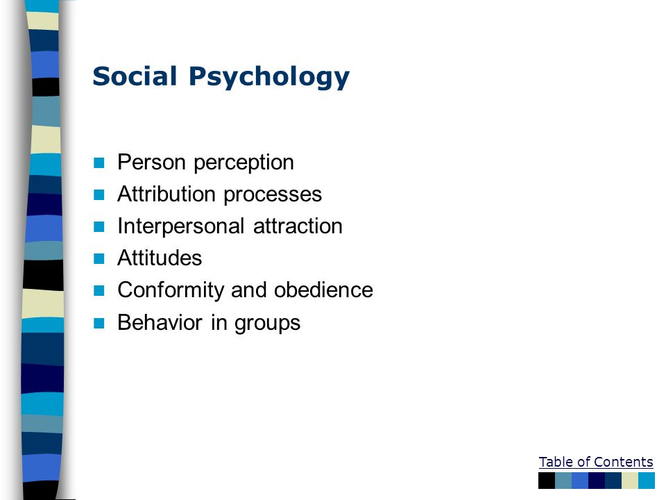 Social Psychology Person perception Attribution processes