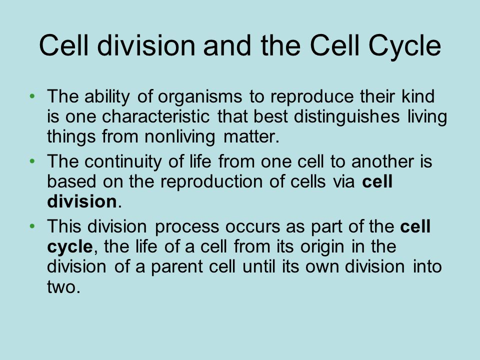 Cell division and the Cell Cycle