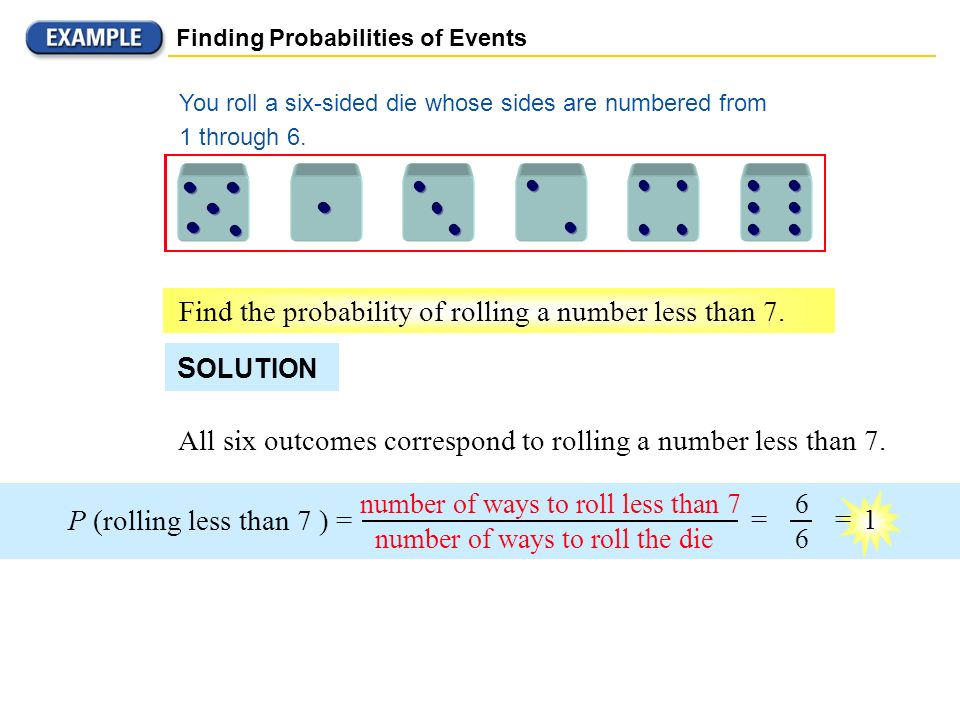 Find the probability of rolling a number less than 7.