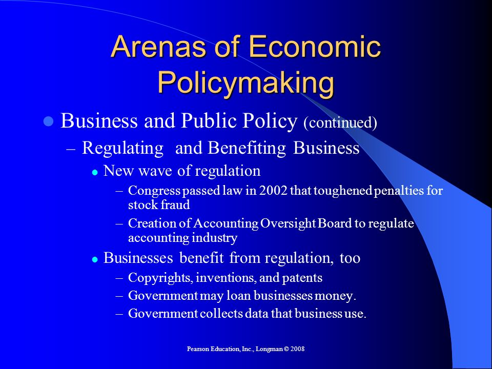 Arenas of Economic Policymaking