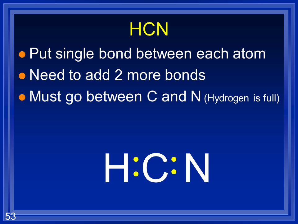 H C N HCN Put single bond between each atom Need to add 2 more bonds