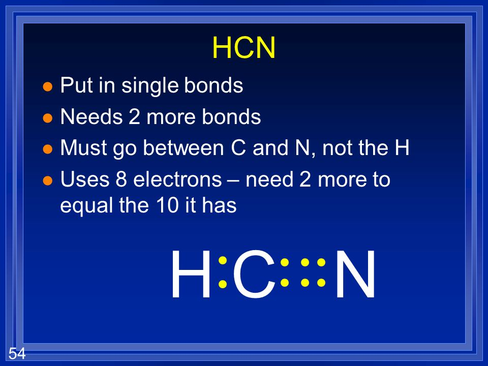 H C N HCN Put in single bonds Needs 2 more bonds