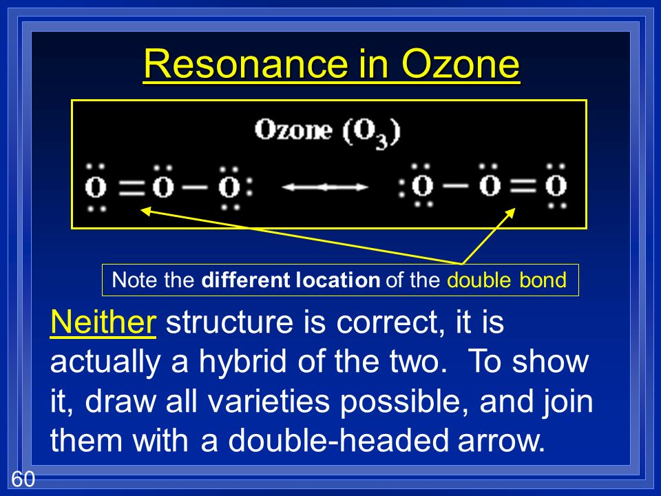 Resonance in Ozone Note the different location of the double bond.