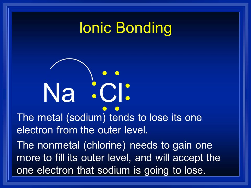Ionic Bonding Na. Cl. The metal (sodium) tends to lose its one electron from the outer level.