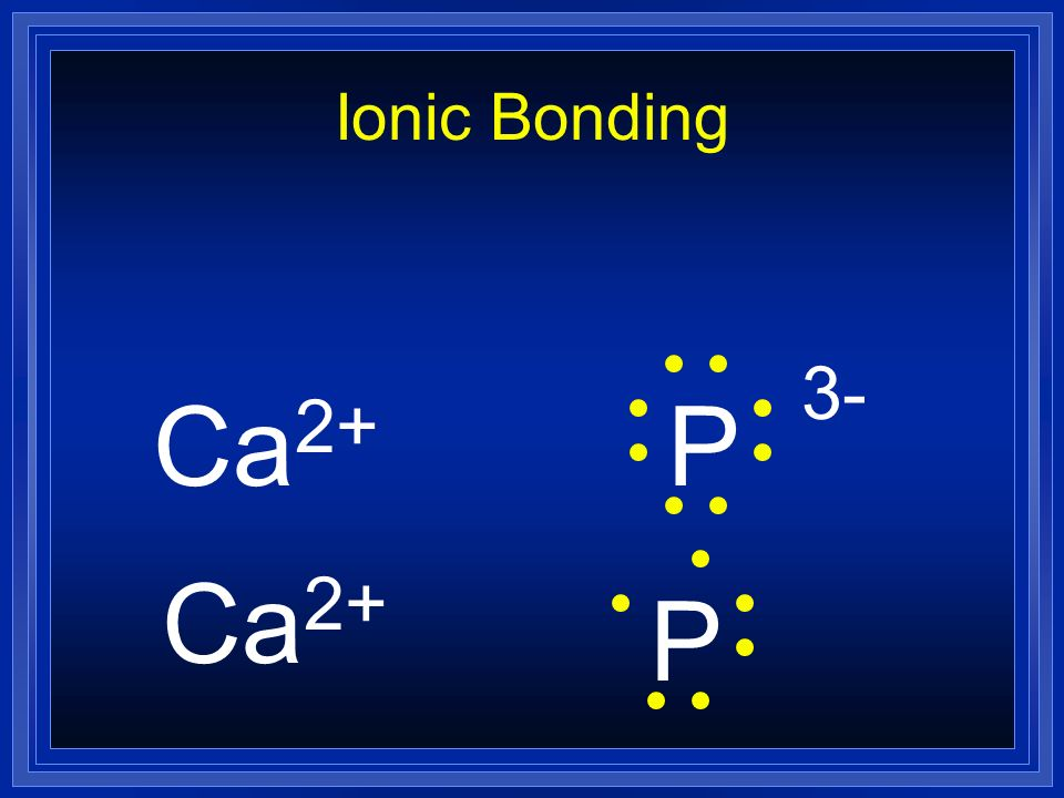 Ionic Bonding Ca2+ P 3- Ca2+ P