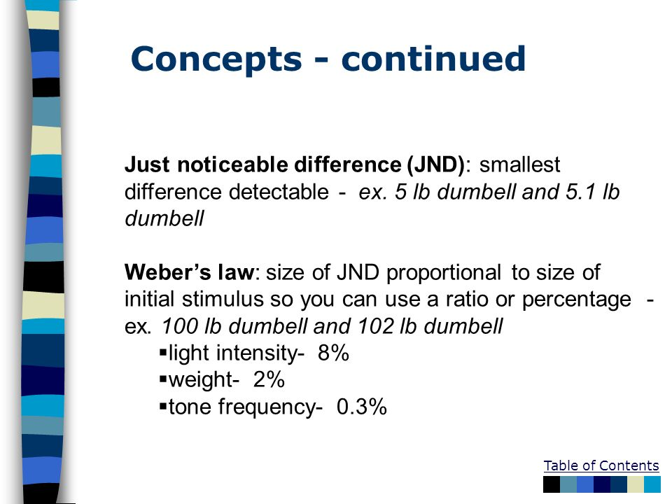Concepts - continued Just noticeable difference (JND): smallest difference detectable - ex. 5 lb dumbell and 5.1 lb dumbell.