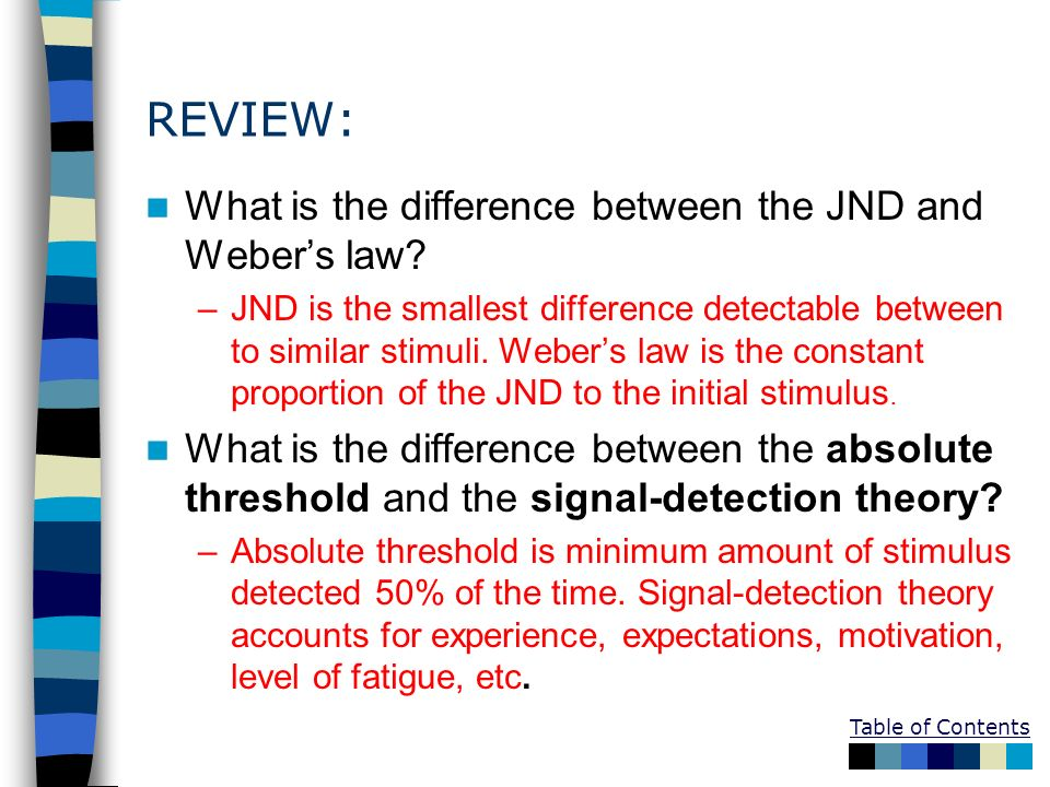 REVIEW: What is the difference between the JND and Weber's law