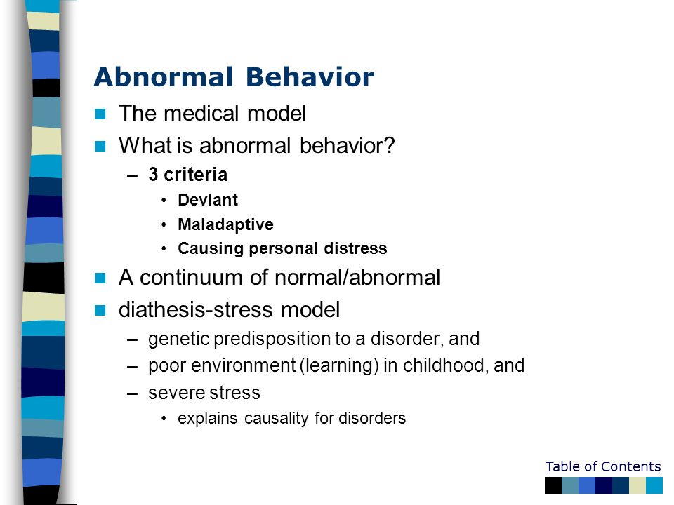 Abnormal Behavior The medical model What is abnormal behavior