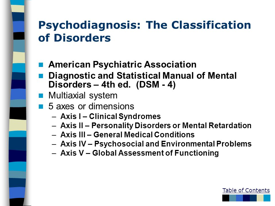 Psychodiagnosis: The Classification of Disorders