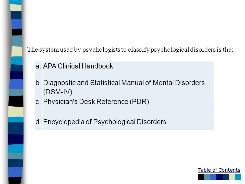 The system used by psychologists to classify psychological disorders is the: