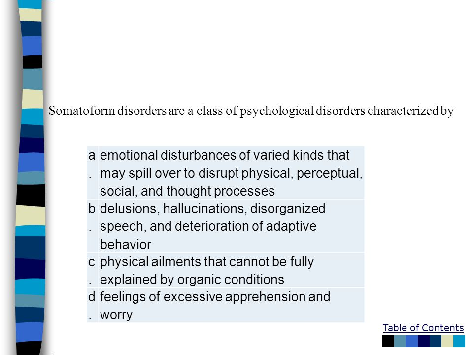 Somatoform disorders are a class of psychological disorders characterized by