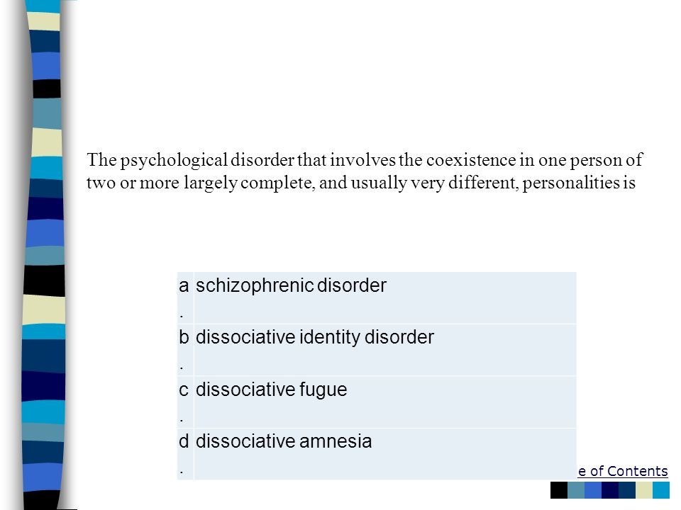 The psychological disorder that involves the coexistence in one person of