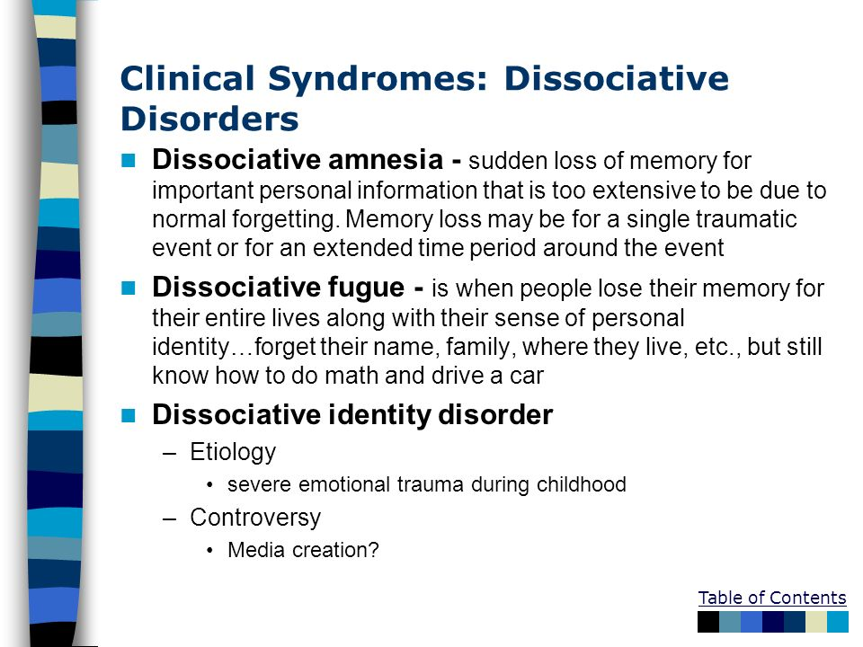 Clinical Syndromes: Dissociative Disorders