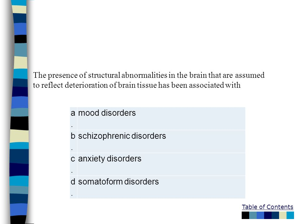 The presence of structural abnormalities in the brain that are assumed