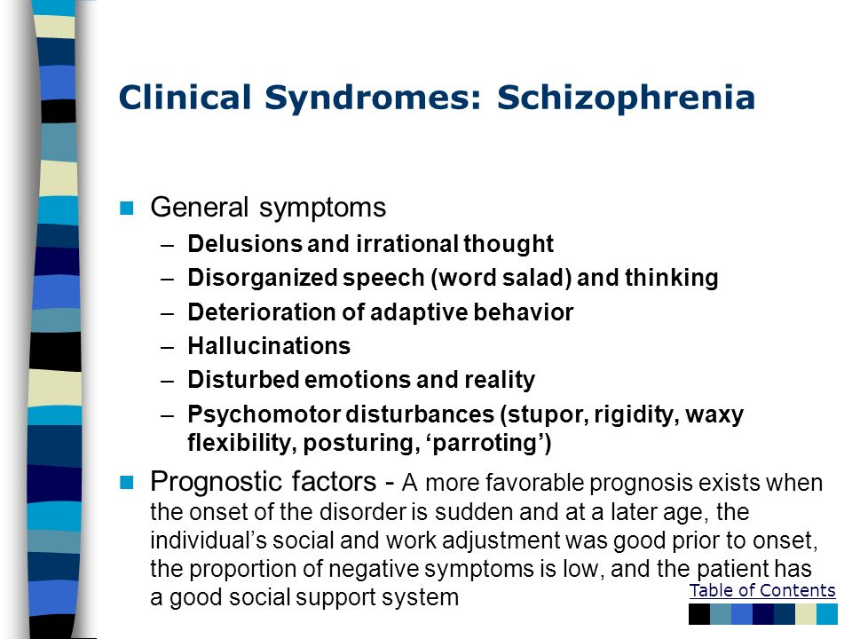 Clinical Syndromes: Schizophrenia