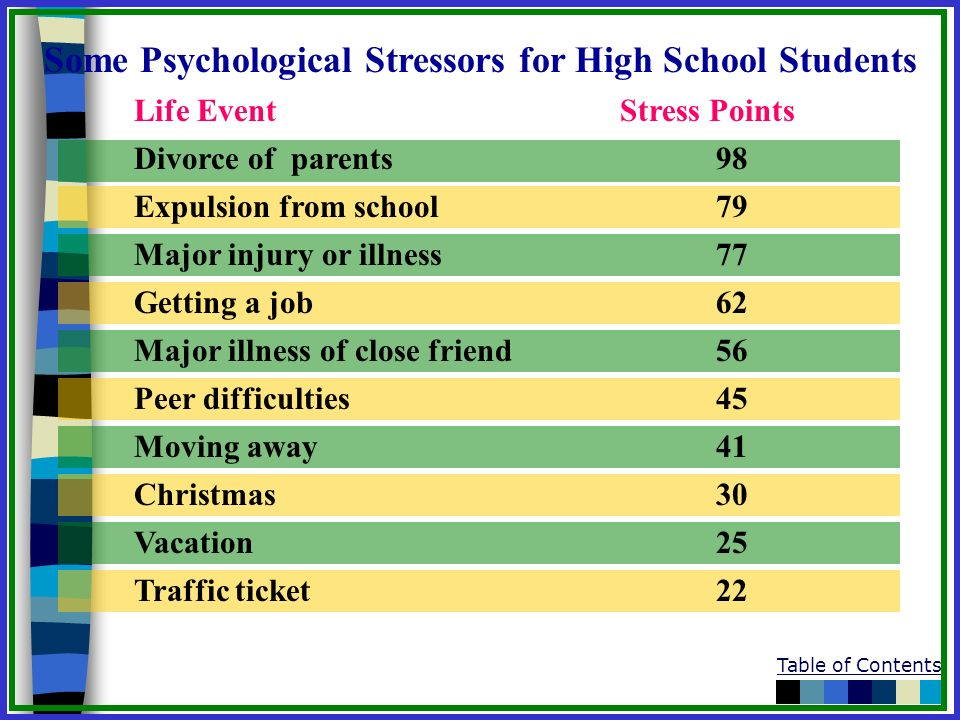 Some Psychological Stressors for High School Students