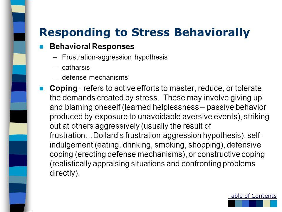 Responding to Stress Behaviorally