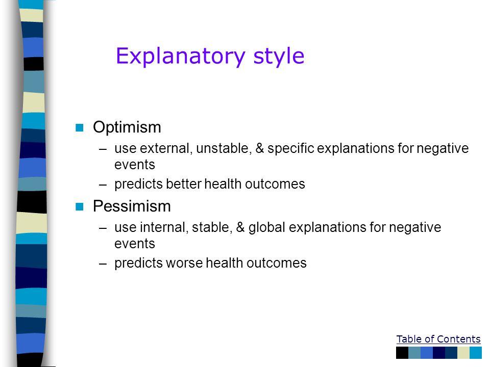 Explanatory style Optimism Pessimism