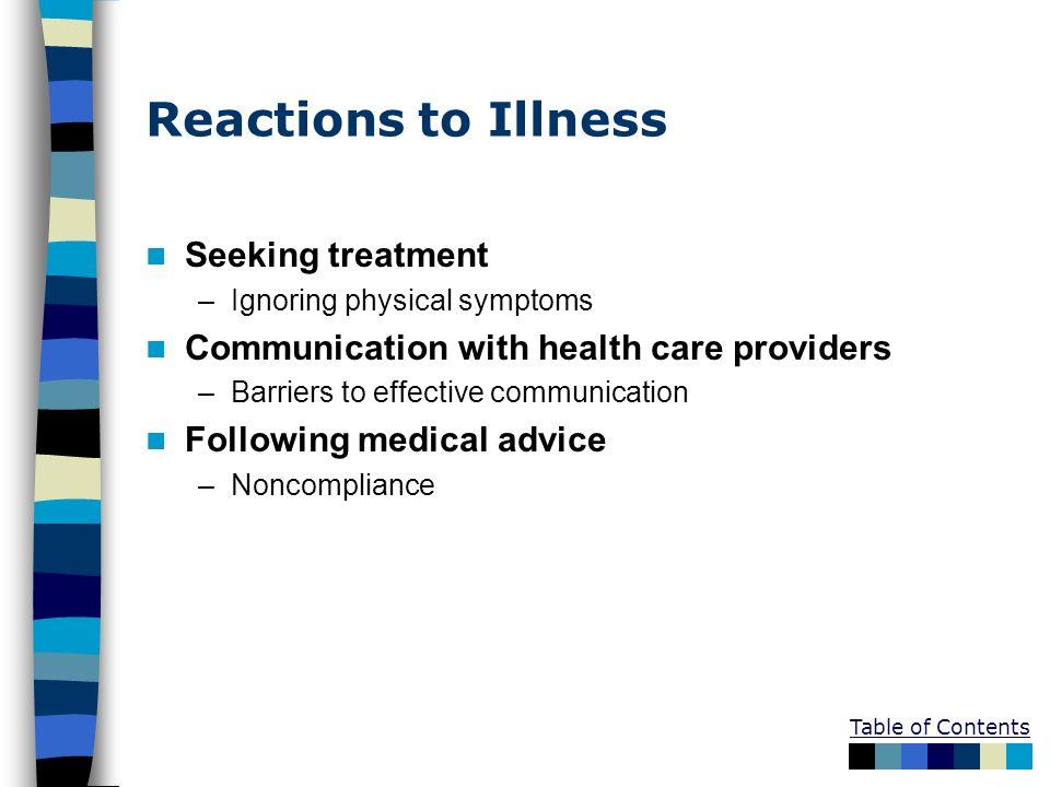 Reactions to Illness Seeking treatment