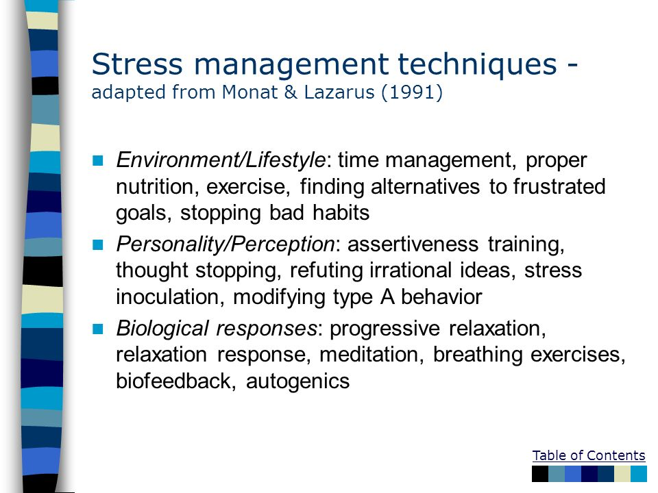 Stress management techniques -adapted from Monat & Lazarus (1991)