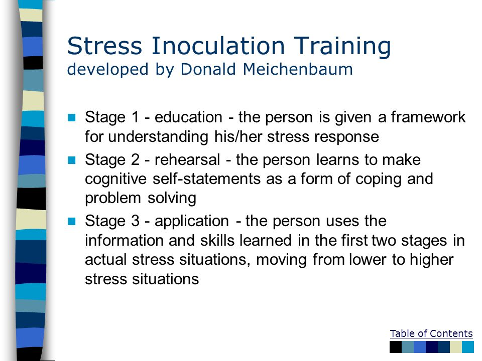 Stress Inoculation Training developed by Donald Meichenbaum