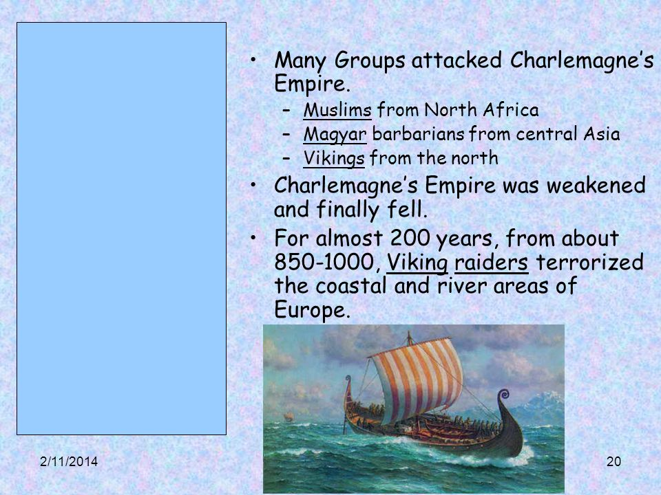 Many Groups attacked Charlemagne's Empire.