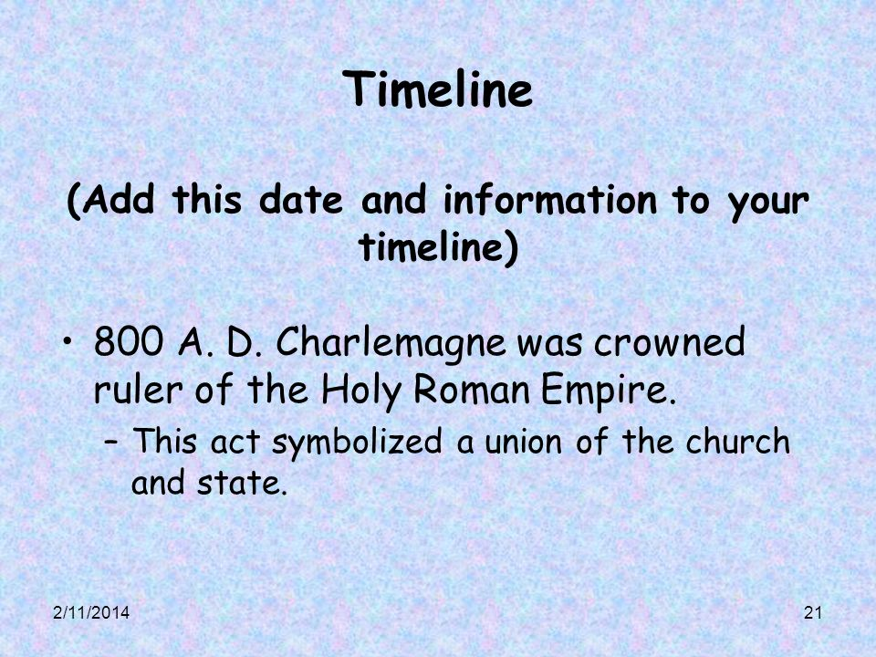 Timeline (Add this date and information to your timeline)