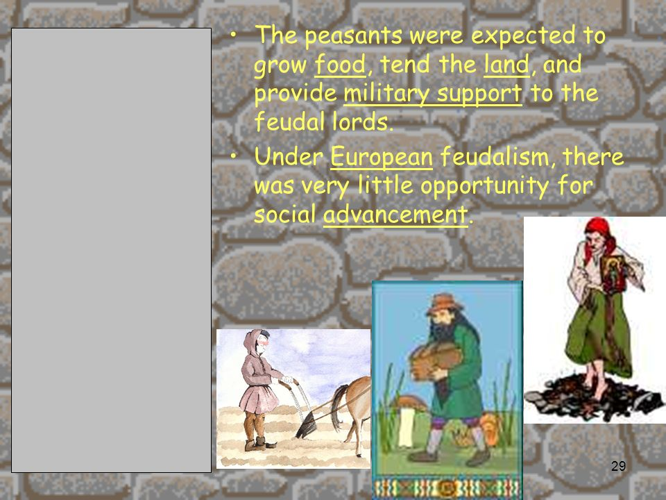 The peasants were expected to grow food, tend the land, and provide military support to the feudal lords.
