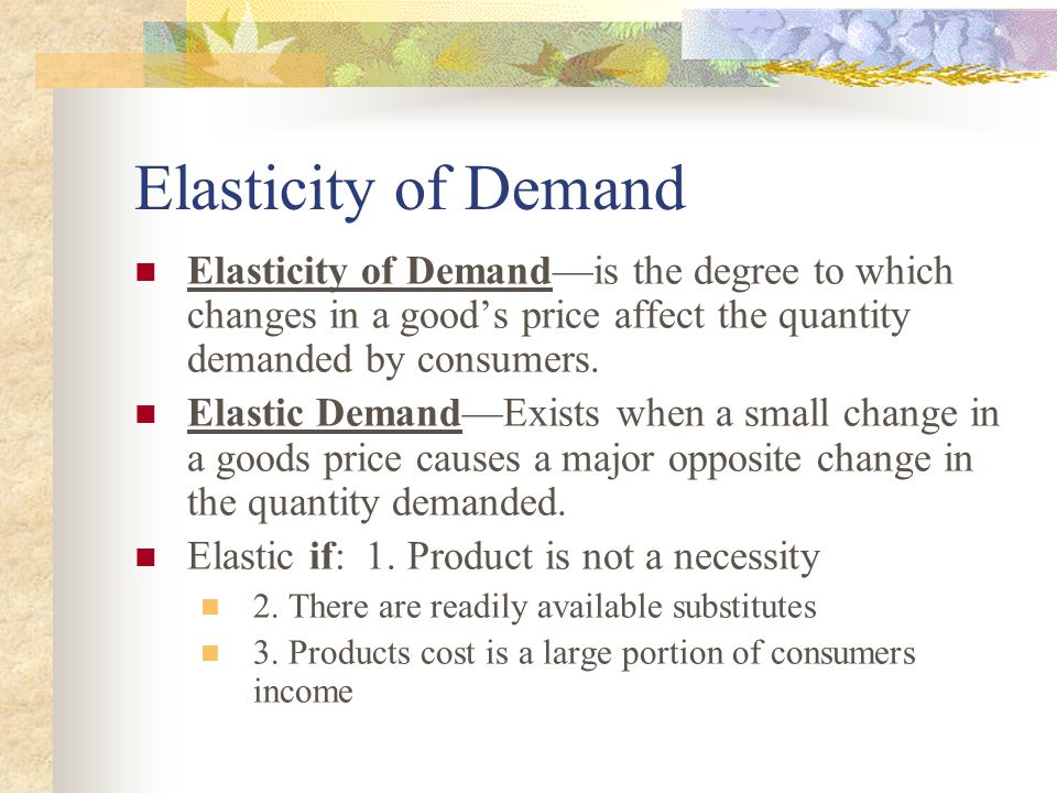 Elasticity of Demand Elasticity of Demand—is the degree to which changes in a good's price affect the quantity demanded by consumers.
