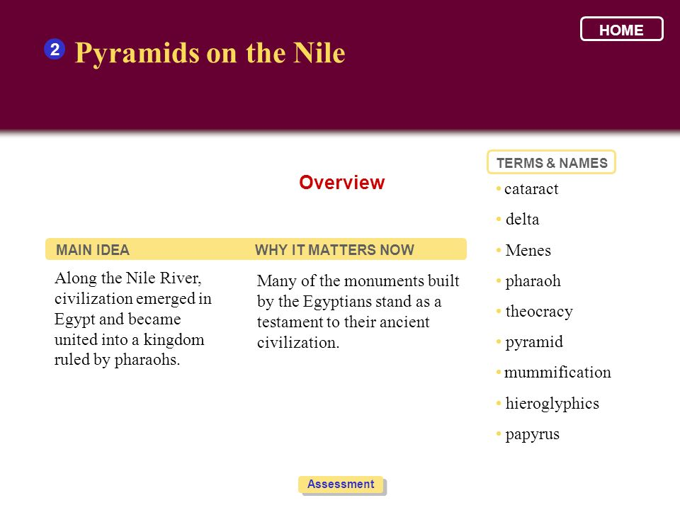 Pyramids on the Nile Overview 2 • cataract • delta • Menes • pharaoh