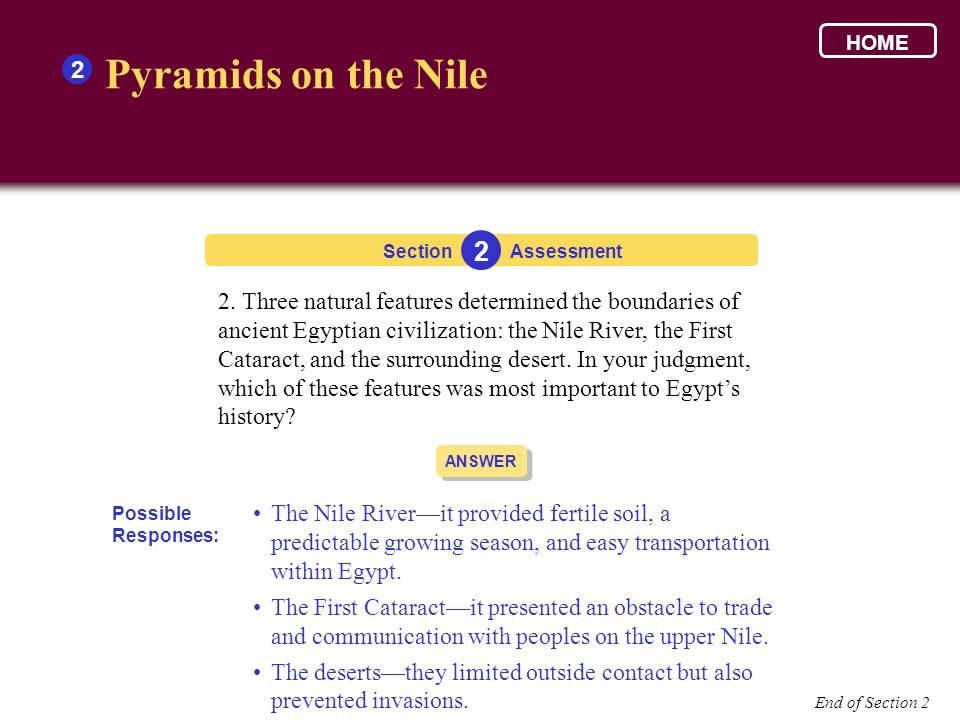 HOME 2. Pyramids on the Nile. Section. 2. Assessment.