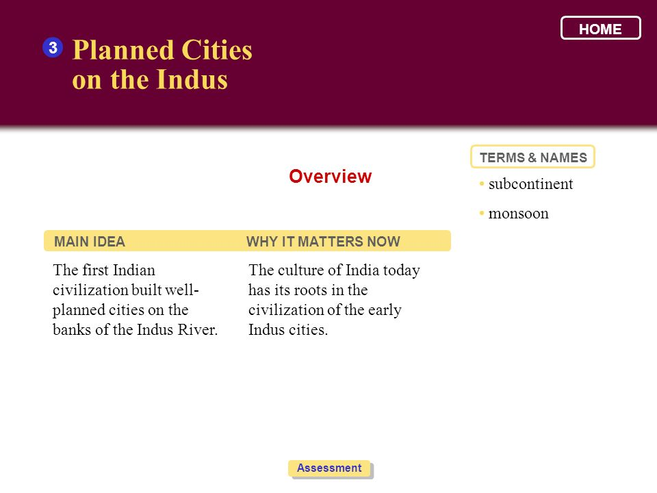 Planned Cities on the Indus Overview 3 • subcontinent • monsoon