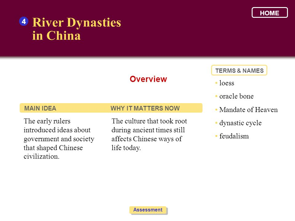 River Dynasties in China Overview 4 • loess • oracle bone