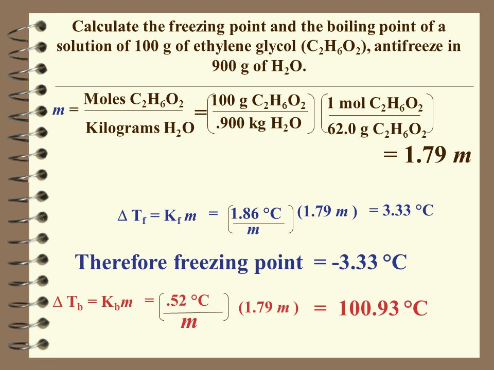 = 1.79 m = Therefore freezing point = -3.33 °C = 100.93 °C m
