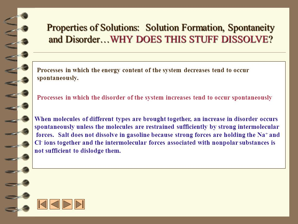 Properties of Solutions: Solution Formation, Spontaneity