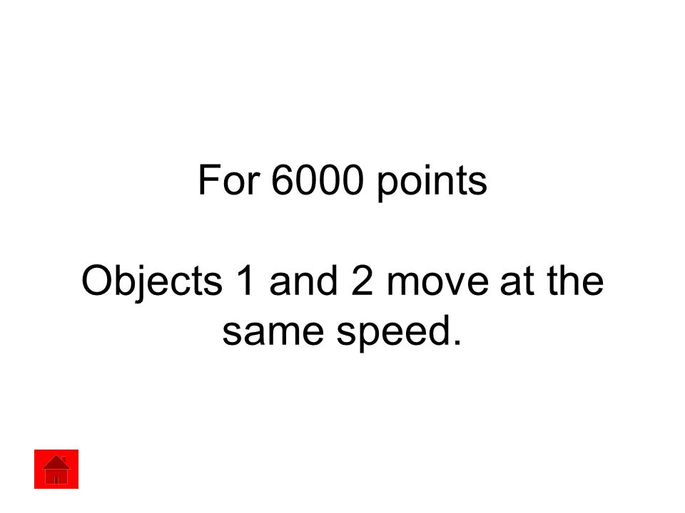 For 6000 points Objects 1 and 2 move at the same speed.